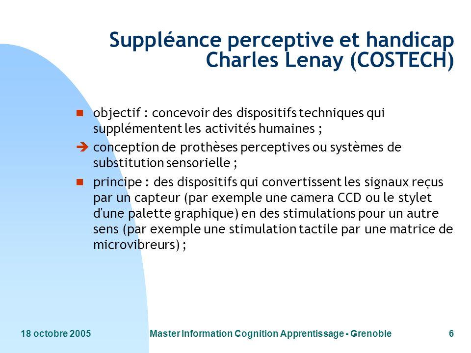 Suppléance perceptive et handicap Charles Lenay (COSTECH)