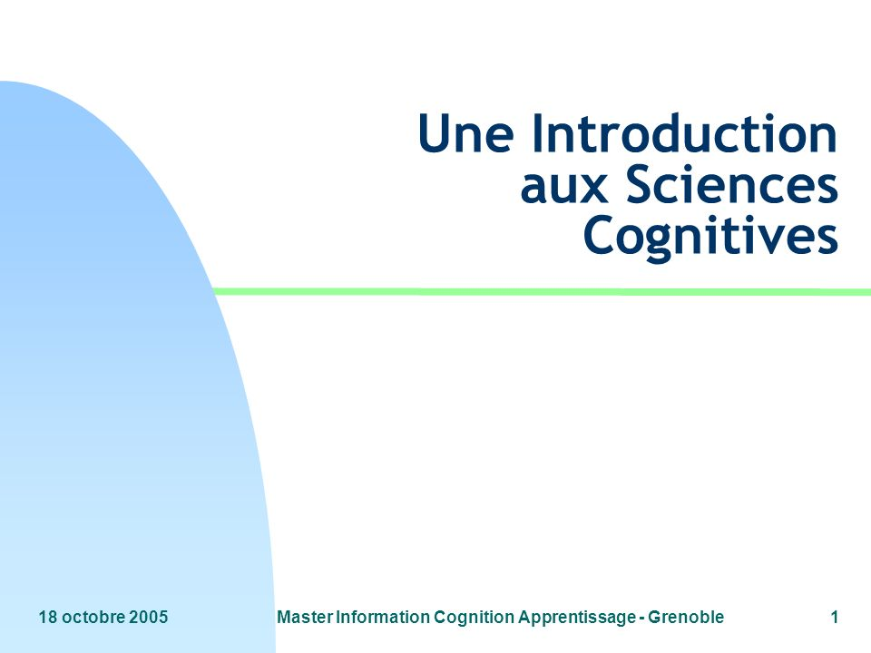 Une Introduction aux Sciences Cognitives