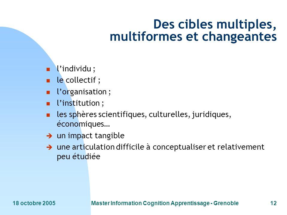 Des cibles multiples, multiformes et changeantes