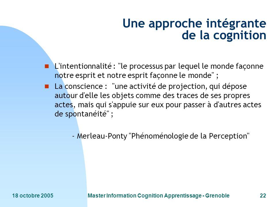 Une approche intégrante de la cognition