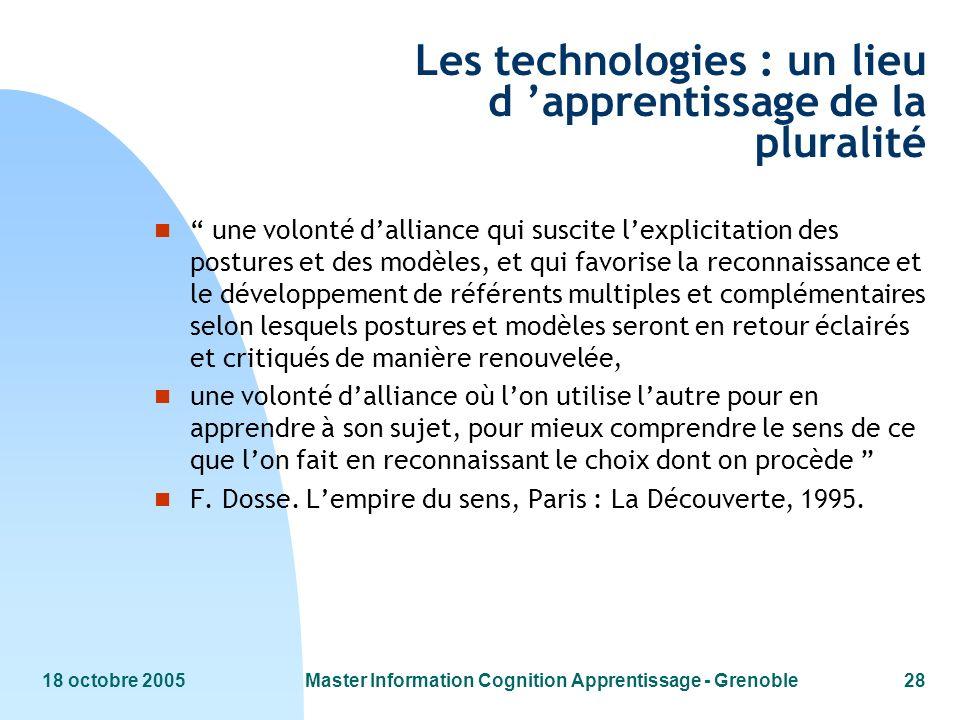 Les technologies : un lieu d 'apprentissage de la pluralité