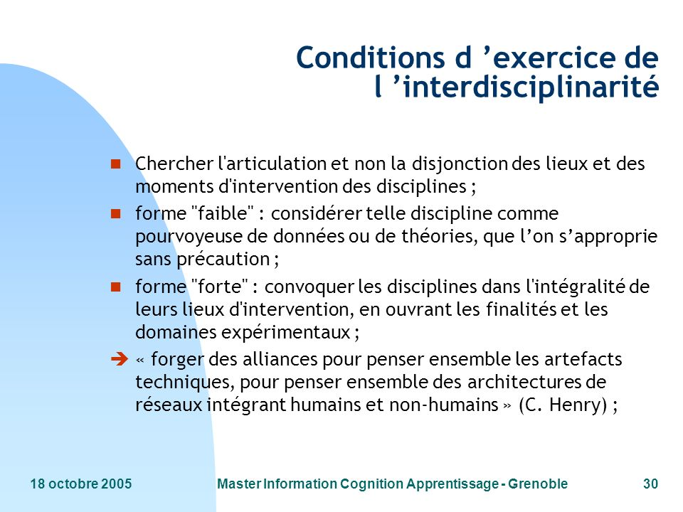 Conditions d 'exercice de l 'interdisciplinarité