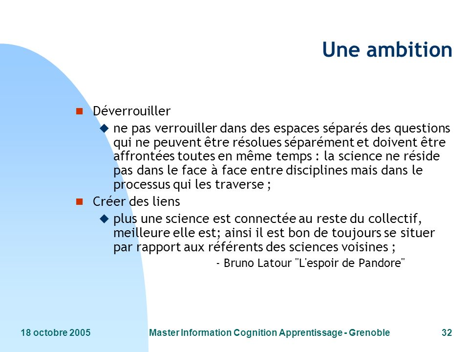Master Information Cognition Apprentissage - Grenoble