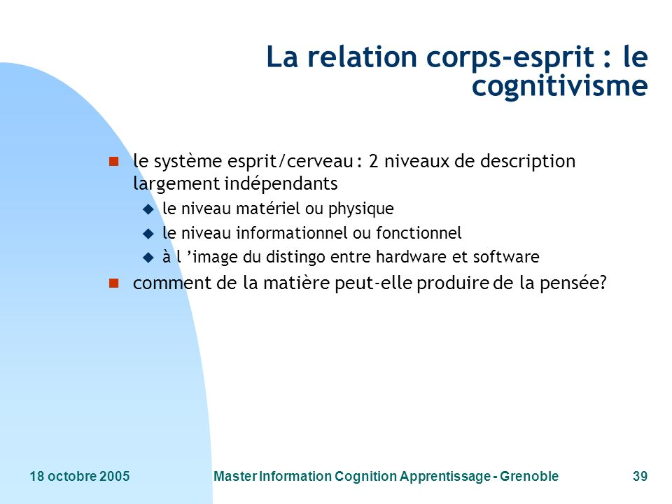 La relation corps-esprit : le cognitivisme