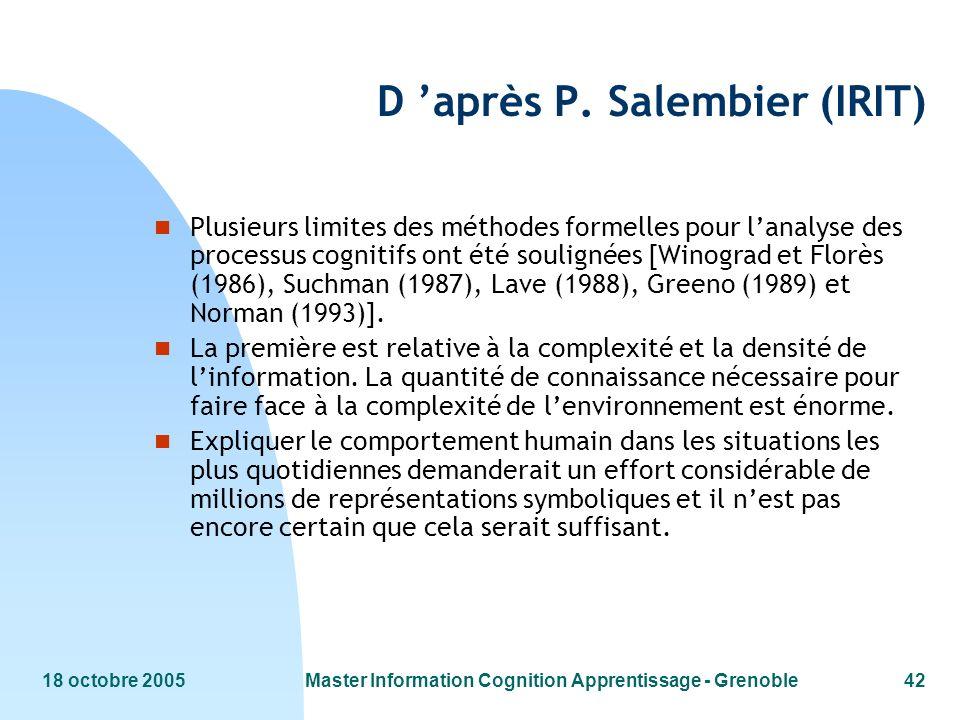 D 'après P. Salembier (IRIT)