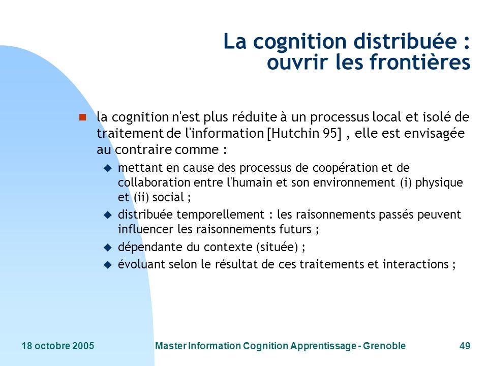 La cognition distribuée : ouvrir les frontières