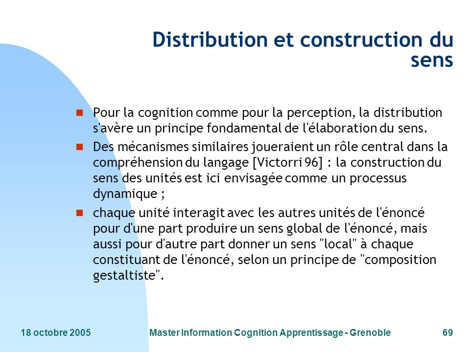 Distribution et construction du sens