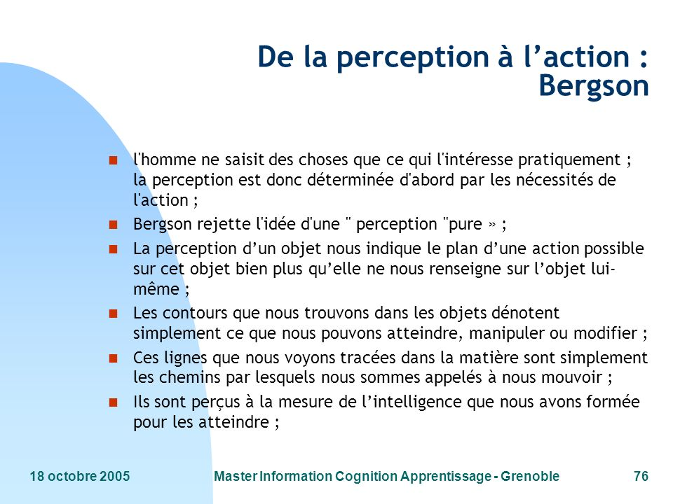 De la perception à l'action : Bergson