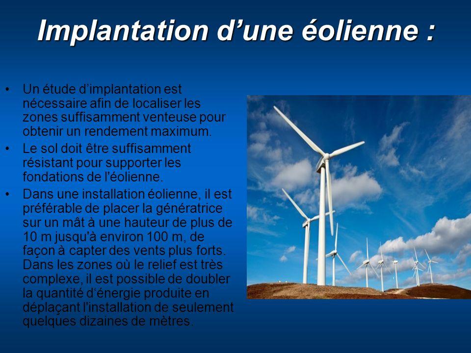 Implantation d'une éolienne :