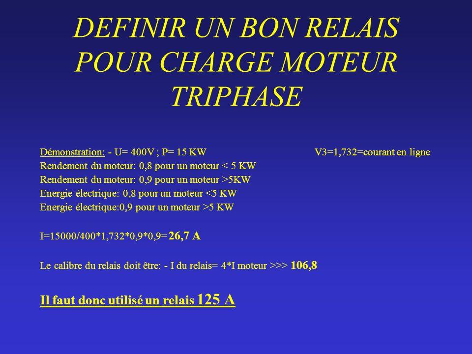 DEFINIR UN BON RELAIS POUR CHARGE MOTEUR TRIPHASE