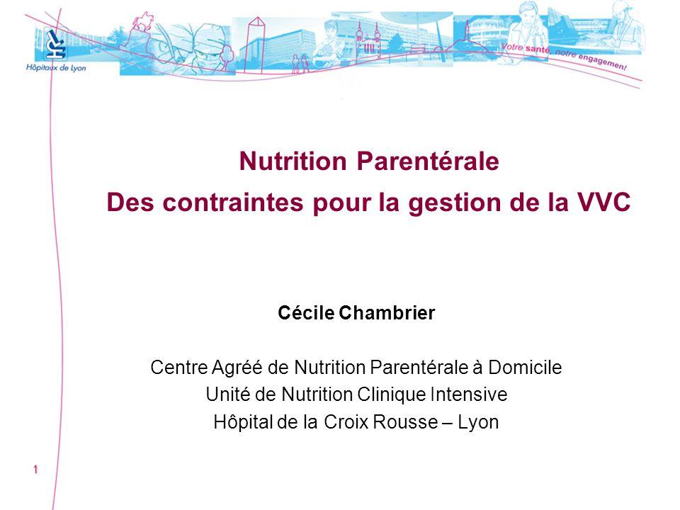Nutrition Parentérale Des contraintes pour la gestion de la VVC