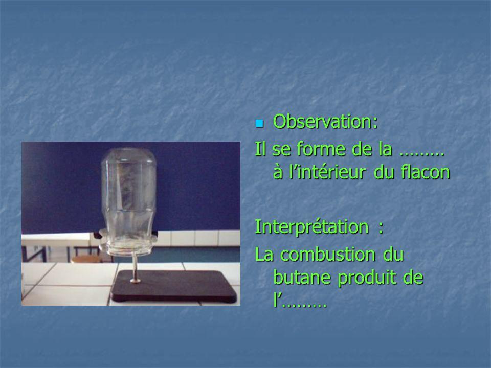 Observation:Il se forme de la ……… à l'intérieur du flacon.