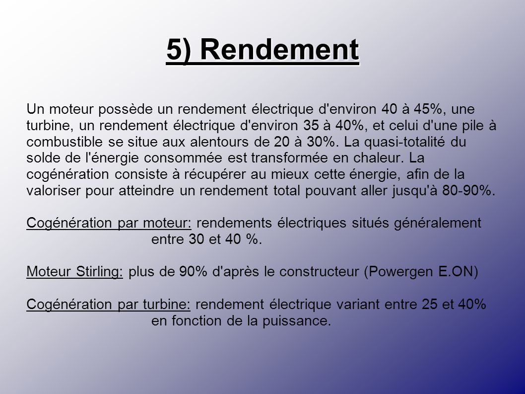 5) Rendement