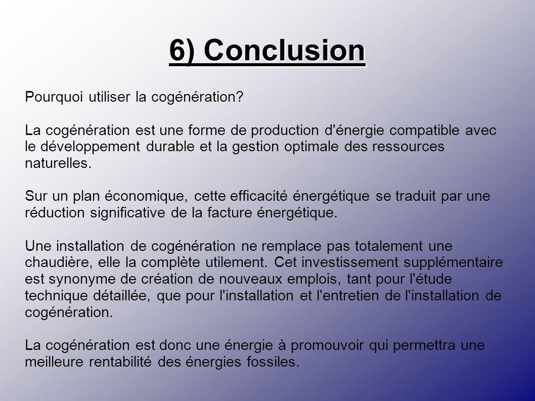 6) Conclusion Pourquoi utiliser la cogénération