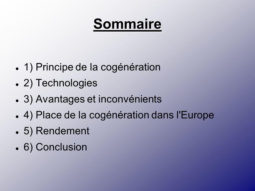 Sommaire 1) Principe de la cogénération 2) Technologies