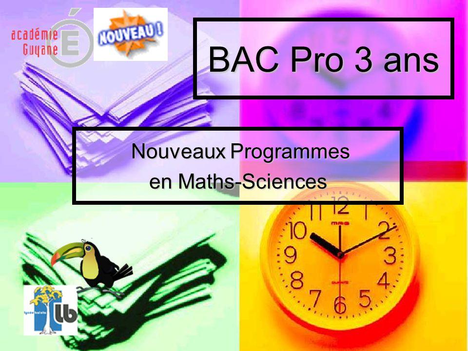 Nouveaux Programmes en Maths-Sciences