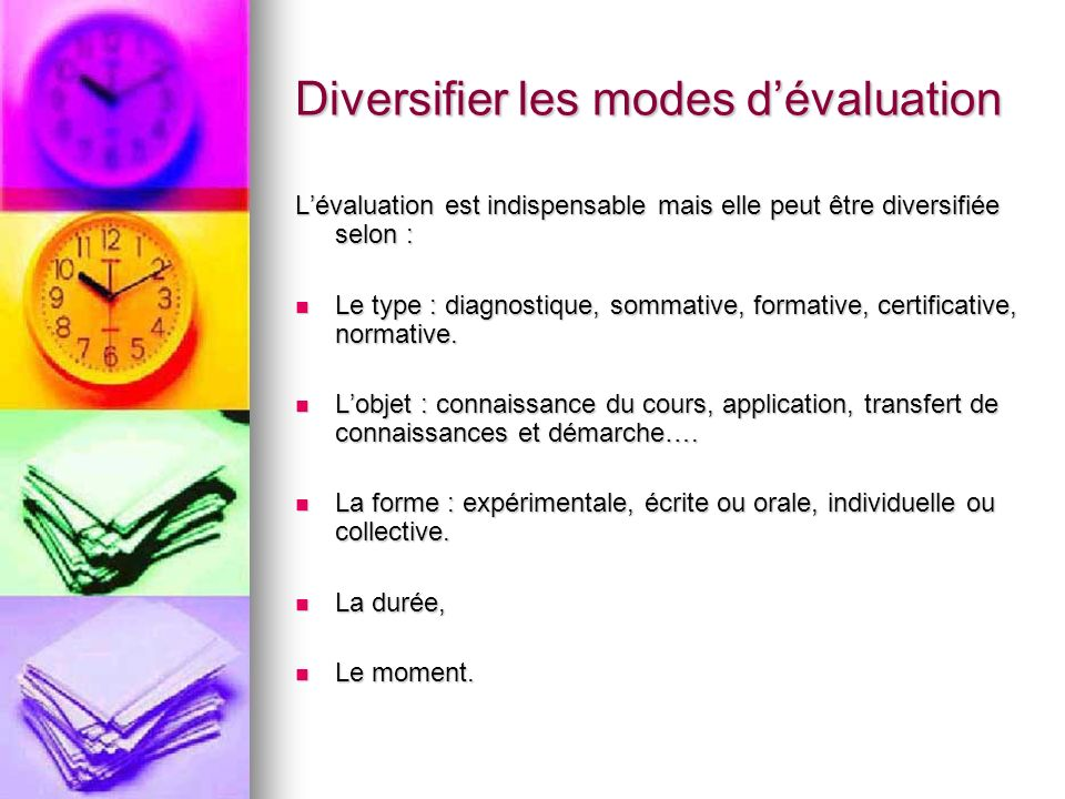 Diversifier les modes d'évaluation