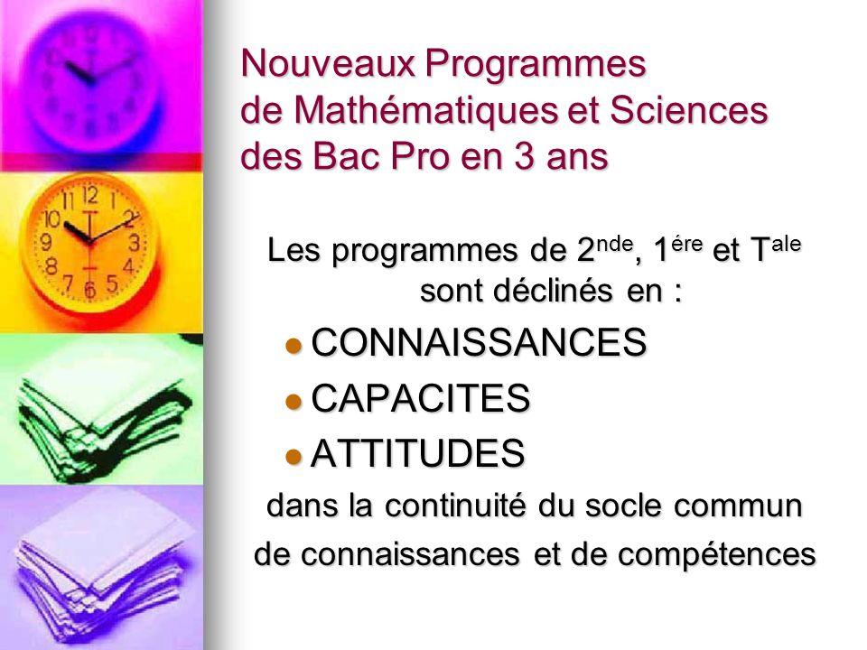 Nouveaux Programmes de Mathématiques et Sciences des Bac Pro en 3 ans