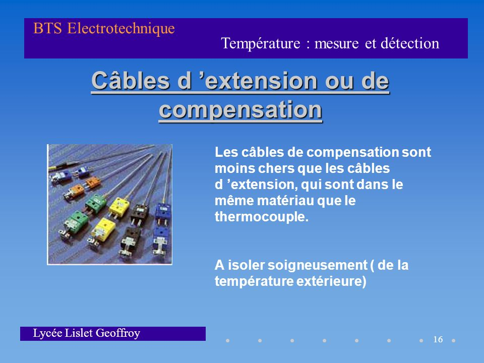 Câbles d 'extension ou de compensation