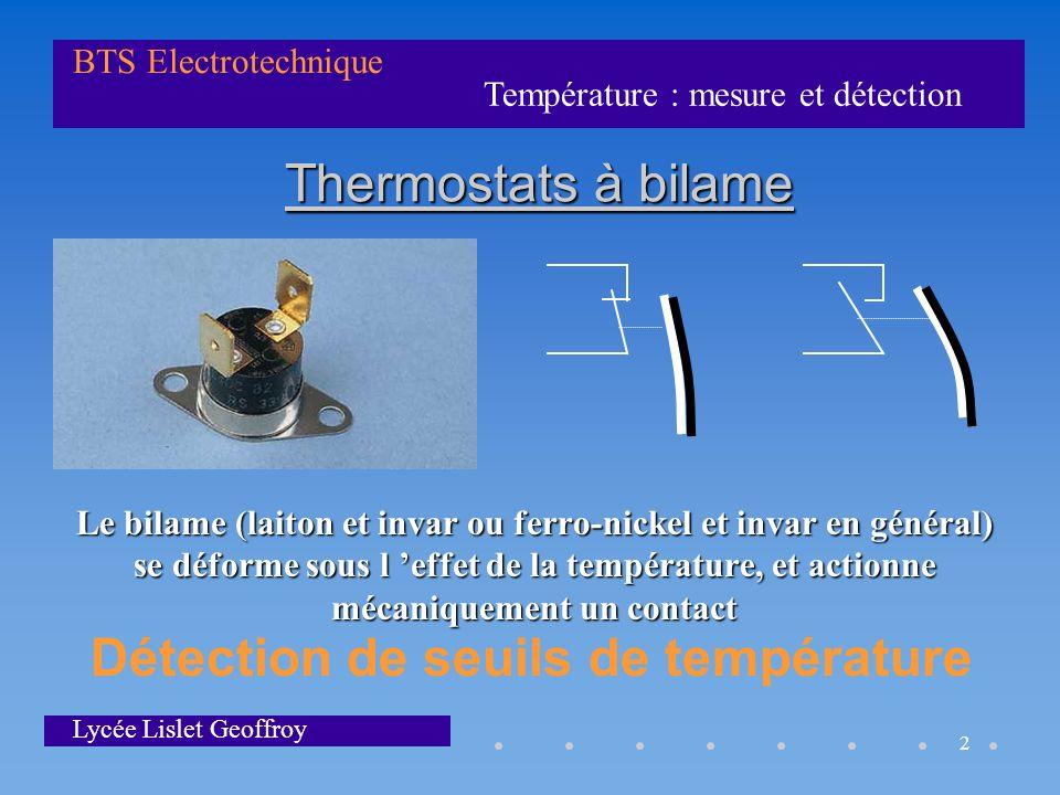 Détection de seuils de température