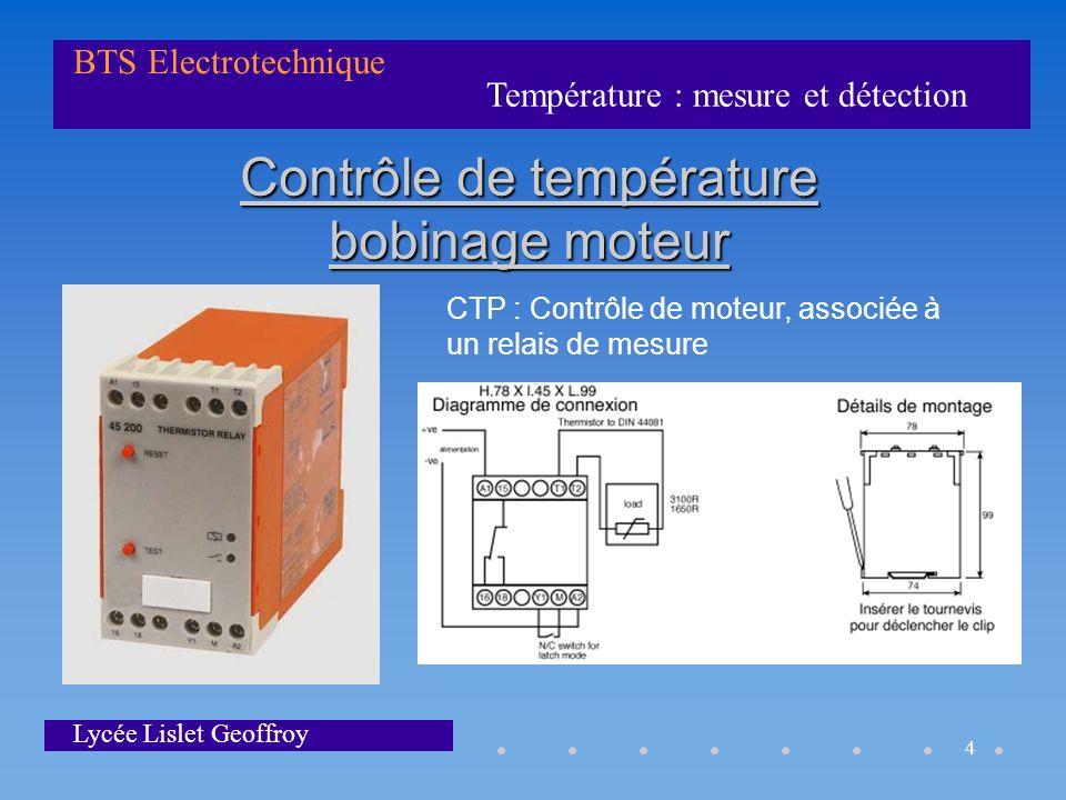Contrôle de température bobinage moteur