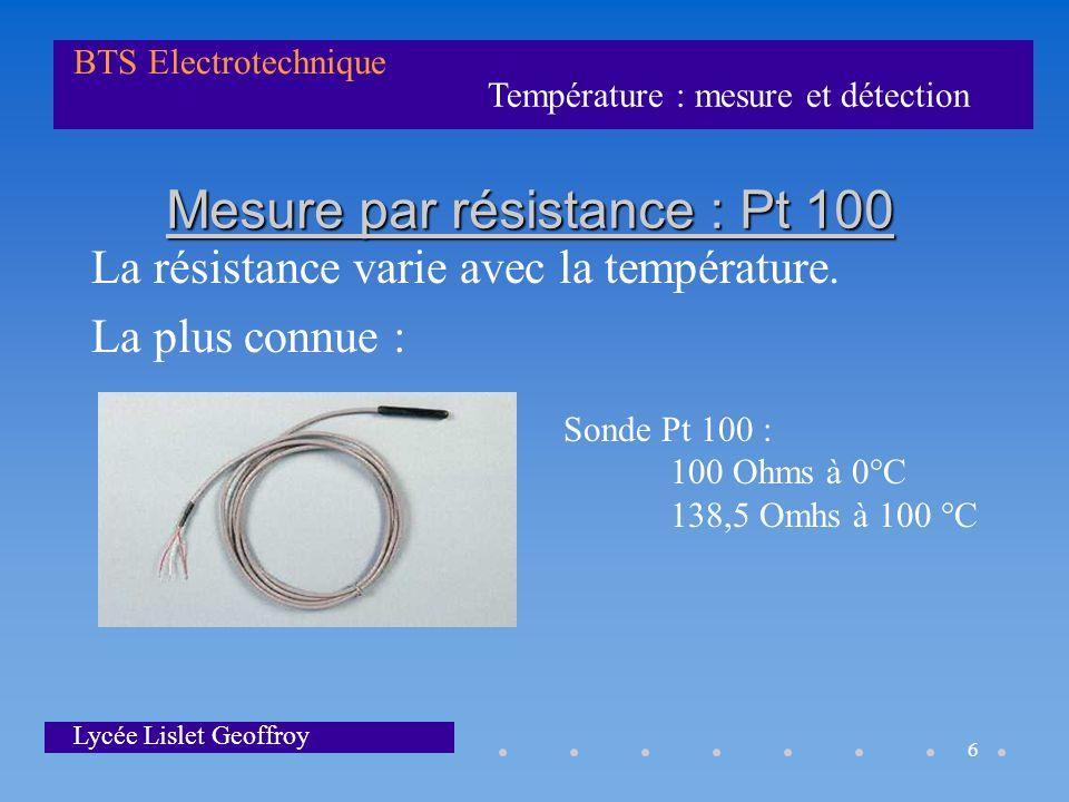 Mesure par résistance : Pt 100