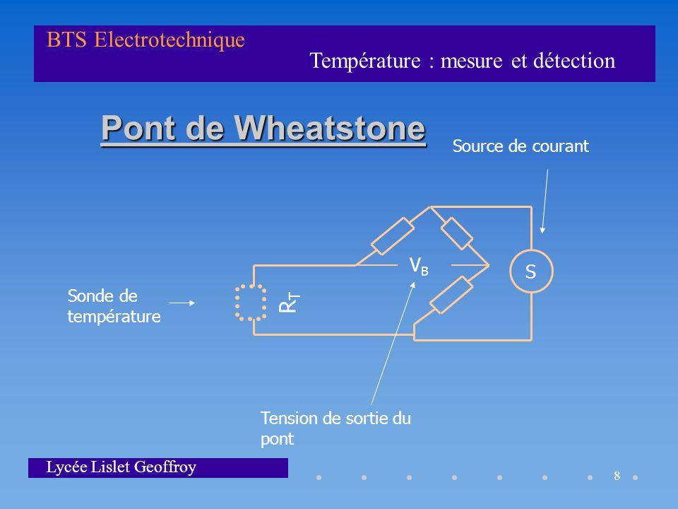 Pont de Wheatstone RT VB S Source de courant Sonde de température
