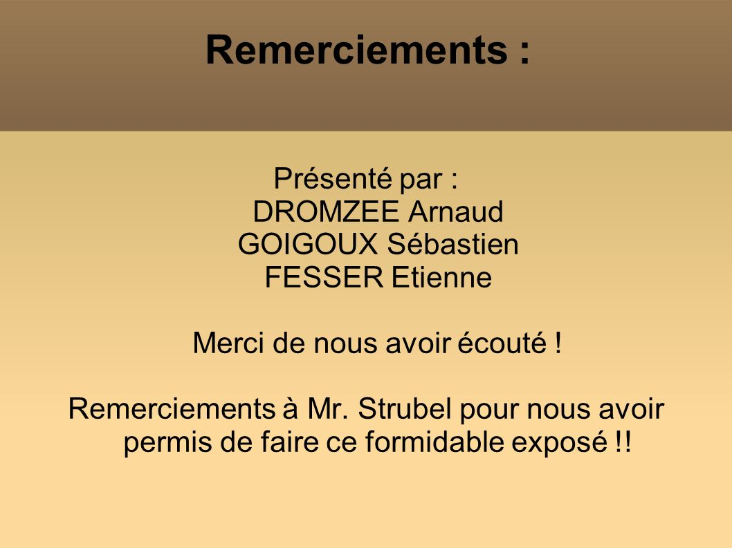 Remerciements : Présenté par : DROMZEE Arnaud GOIGOUX Sébastien FESSER Etienne Merci de nous avoir écouté !