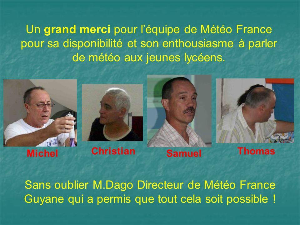 Un grand merci pour l'équipe de Météo France pour sa disponibilité et son enthousiasme à parler de météo aux jeunes lycéens.
