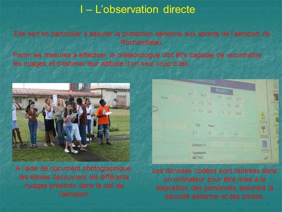 I – L'observation directe