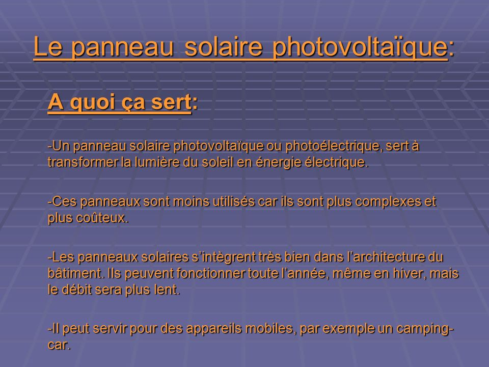 Le panneau solaire photovoltaïque: