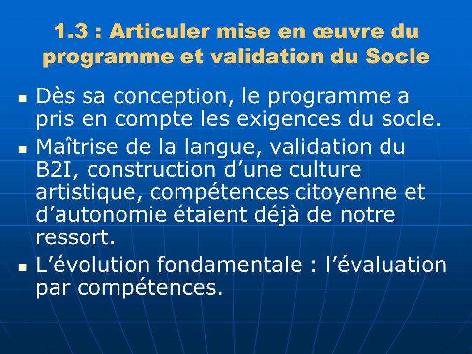 1.3 : Articuler mise en œuvre du programme et validation du Socle