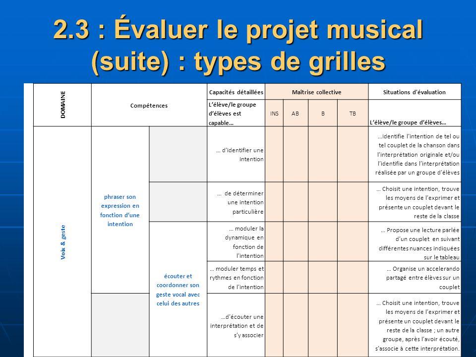 2.3 : Évaluer le projet musical (suite) : types de grilles