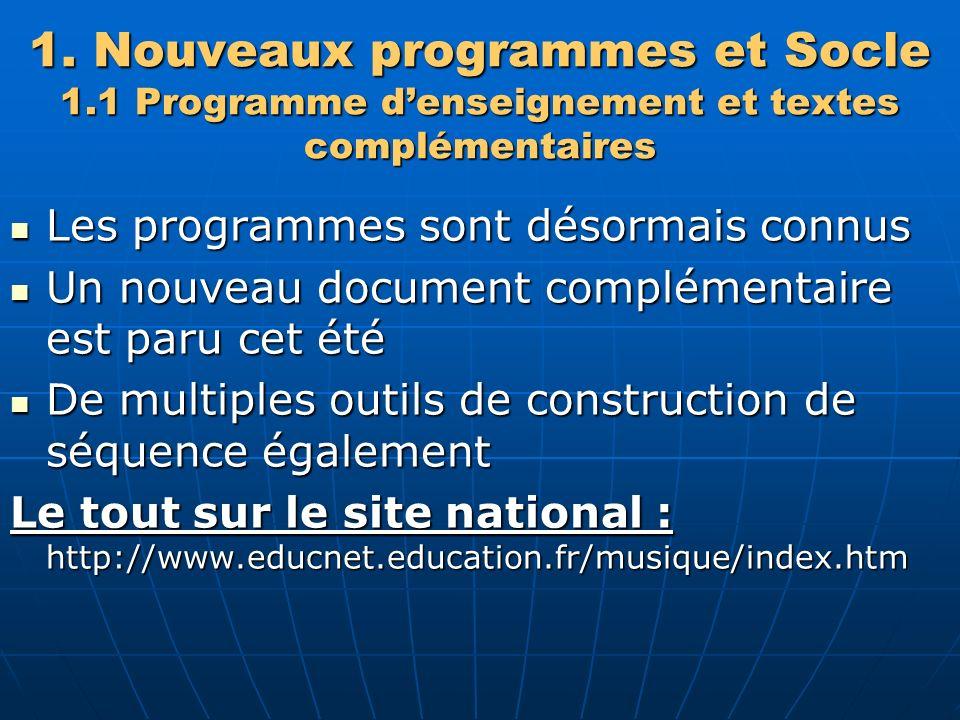 1. Nouveaux programmes et Socle 1