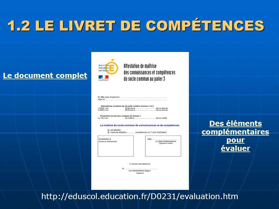 1.2 LE LIVRET DE COMPÉTENCES