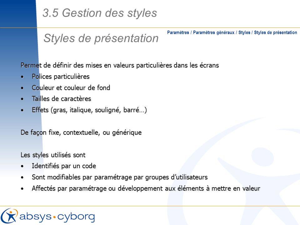 Styles de présentation