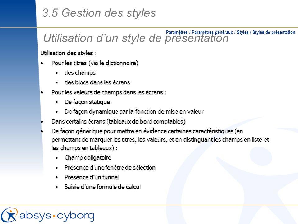 Utilisation d'un style de présentation