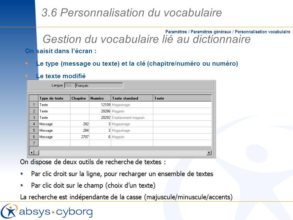 Gestion du vocabulaire lié au dictionnaire