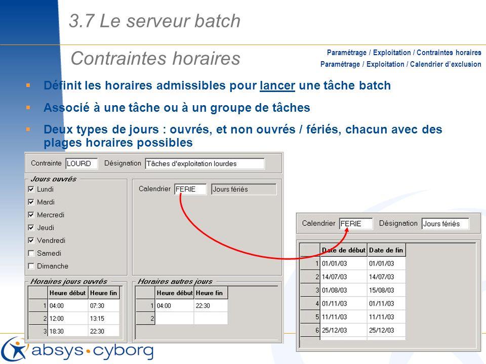 3.7 Le serveur batch Contraintes horaires