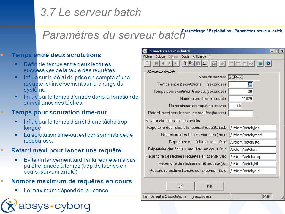 Paramètres du serveur batch
