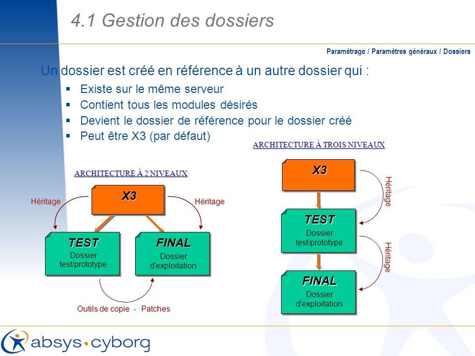 4.1 Gestion des dossiers Paramétrage / Paramètres généraux / Dossiers. Un dossier est créé en référence à un autre dossier qui :