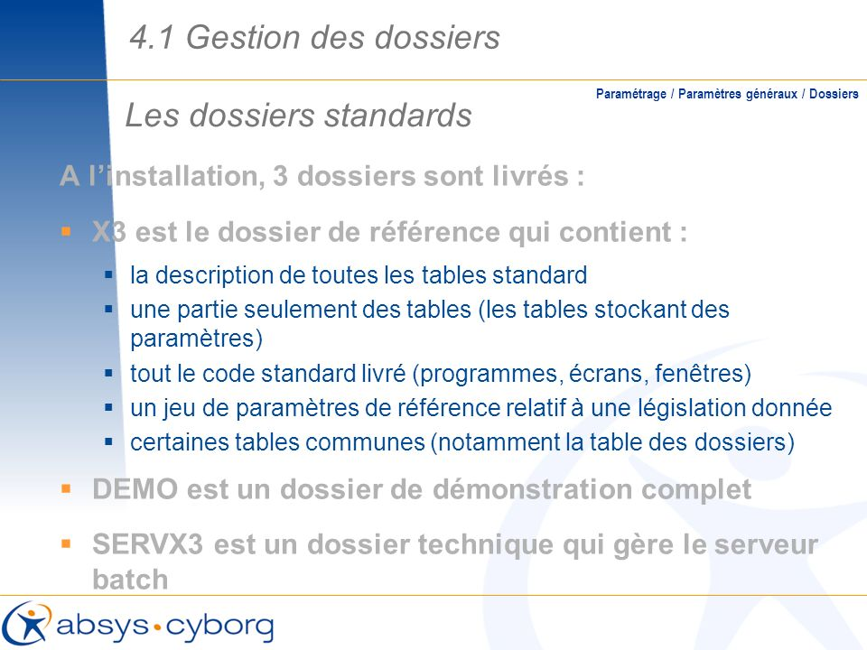 Les dossiers standards