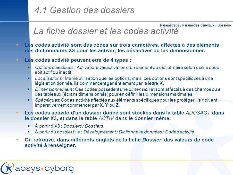 La fiche dossier et les codes activité