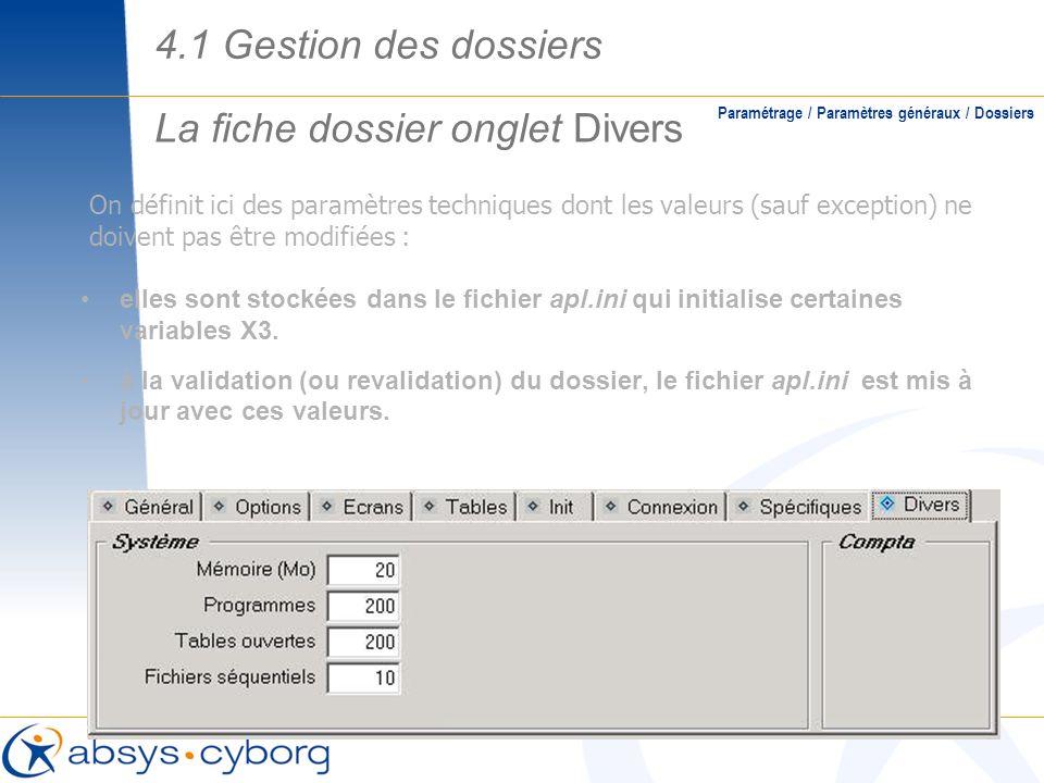 La fiche dossier onglet Divers