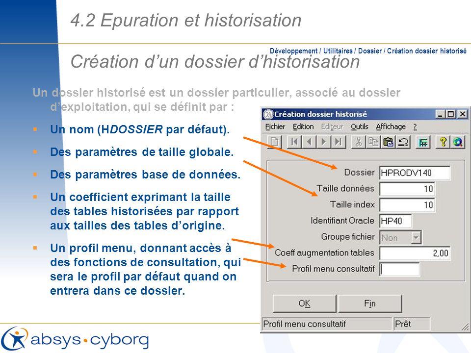 Création d'un dossier d'historisation