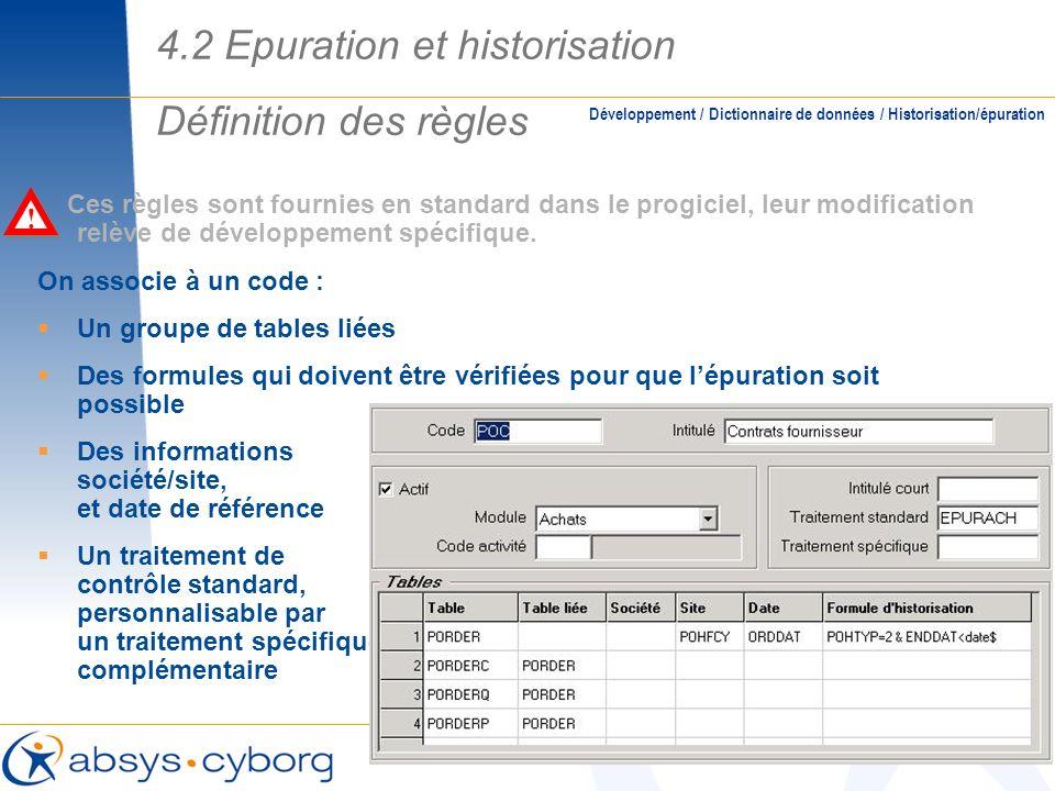 4.2 Epuration et historisation