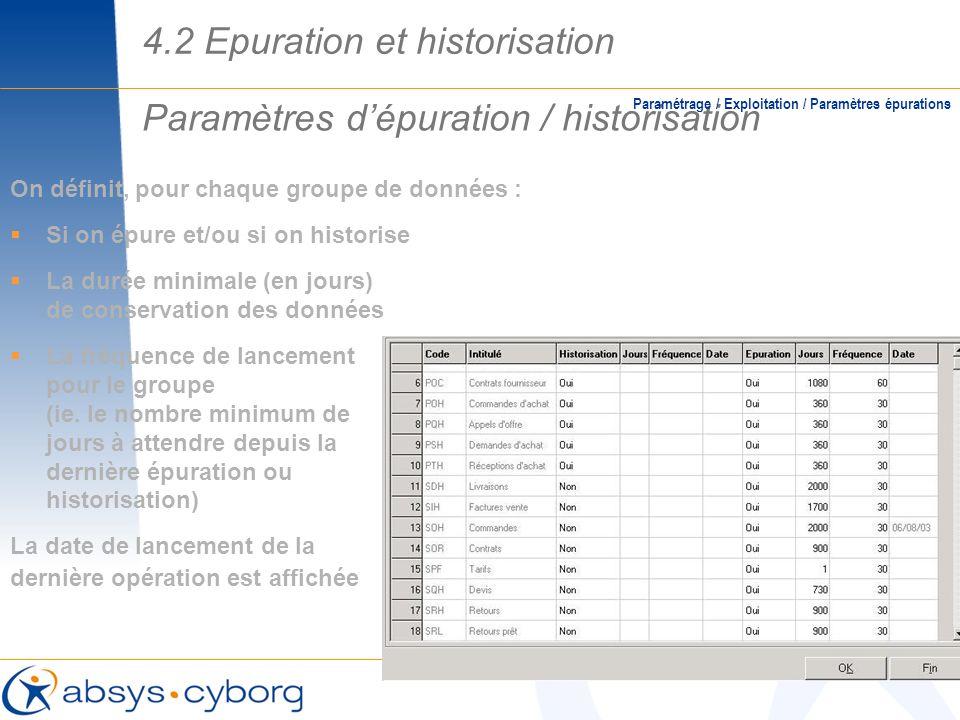 Paramètres d'épuration / historisation