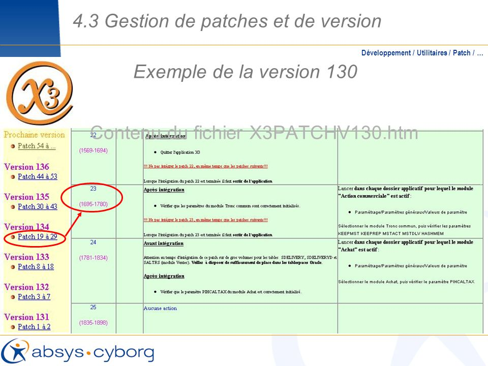 Contenu du fichier X3PATCHV130.htm