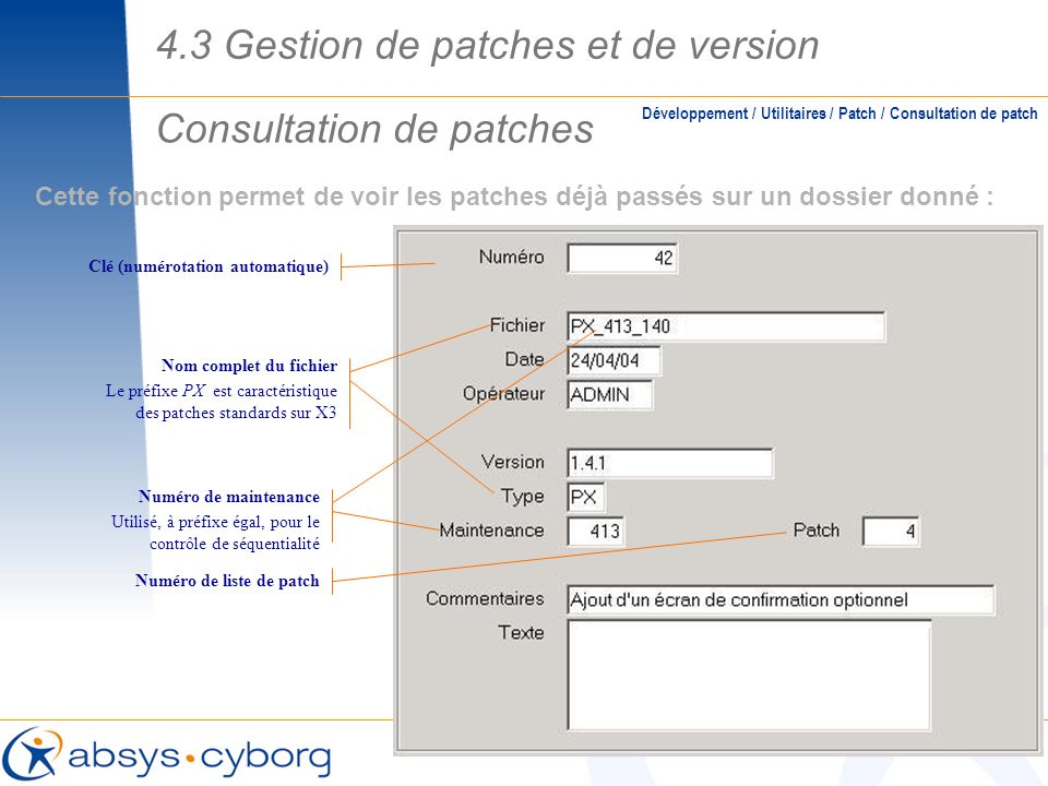 Consultation de patches
