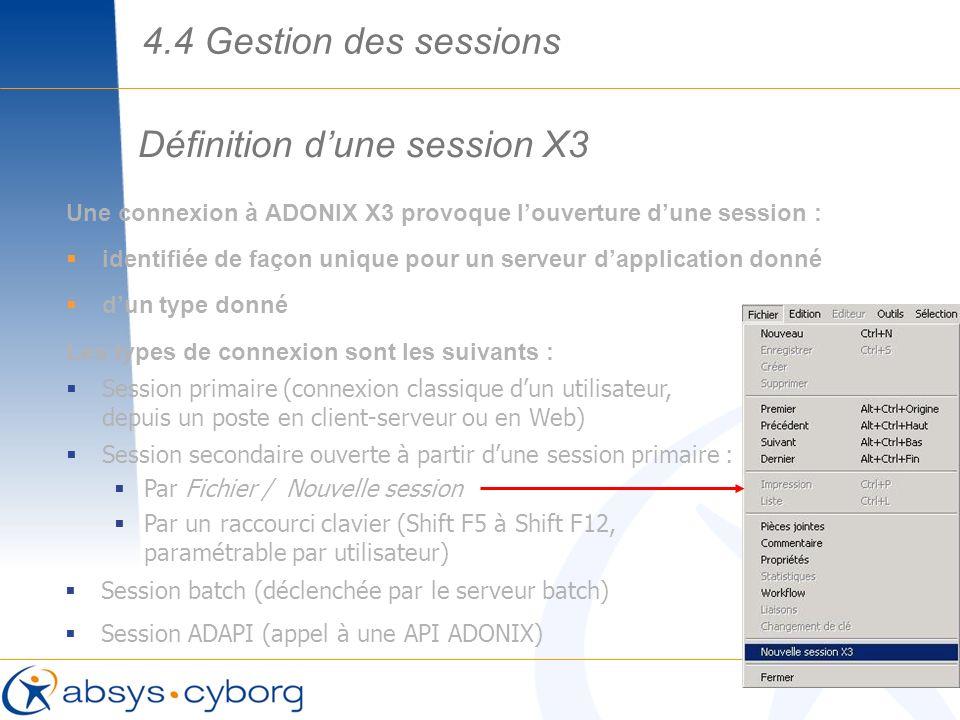 Définition d'une session X3